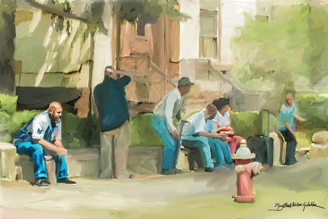 Bus, painting, people, cdta