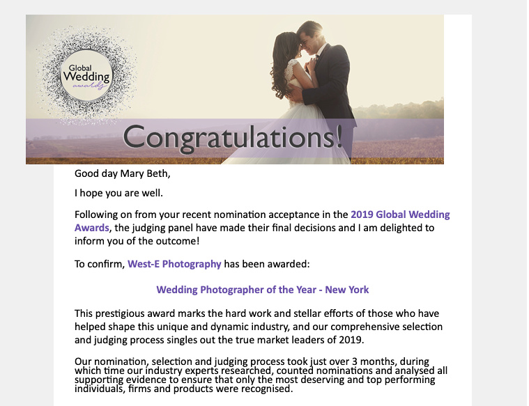 Global Wedding Award, weddings